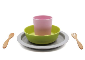 Bamboe kinderservies roze 5 delig – Virgel Technology