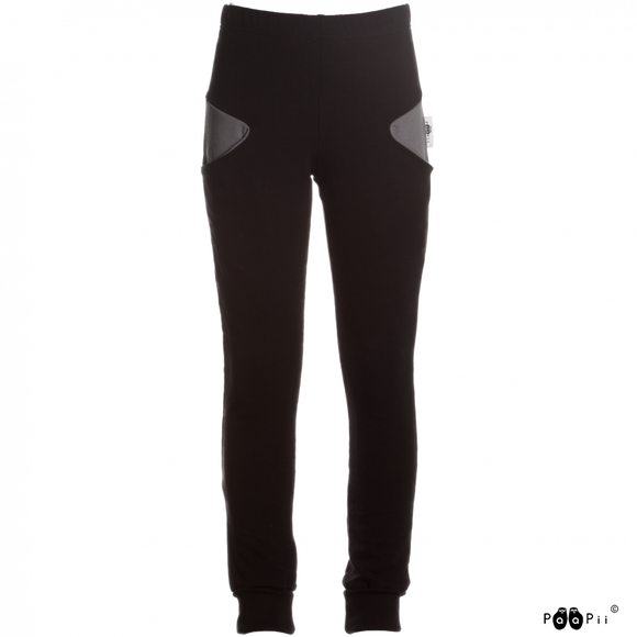 Broek sweatpants Santtu black dark grey 128 t/m 164 - Paapii Design
