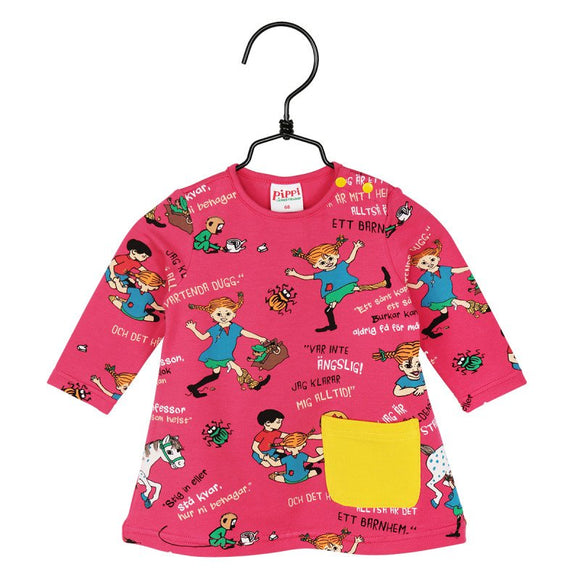 Baby Jurk / Dress Quote Raspberry – Pippi Langkous