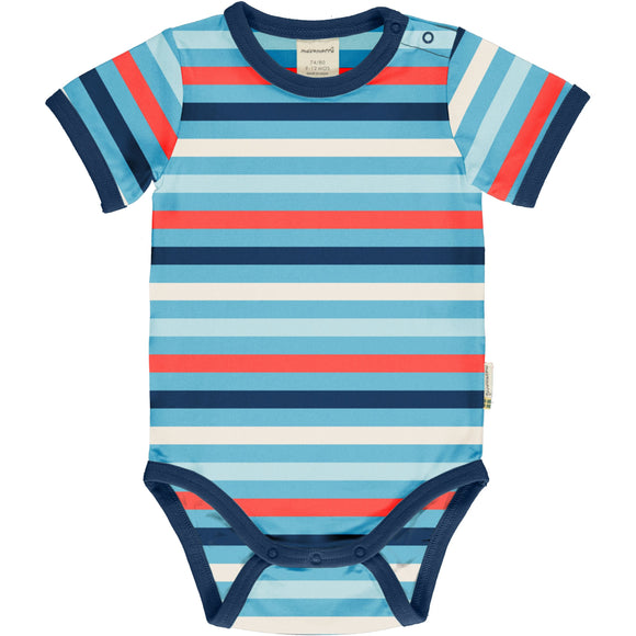 Body / romper SS Stripe Sky - Maxomorra