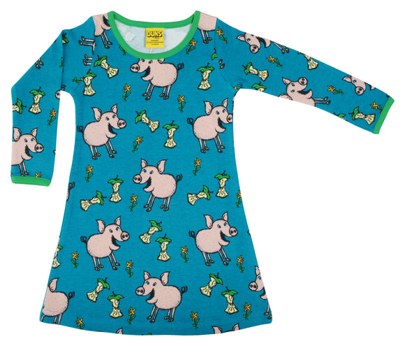 Jurk / Long Sleeve Dress Pig Teal - Duns Sweden