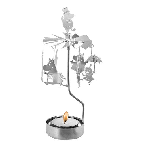 Rotary candle holder Moomin Family Silver - Pluto Produkter