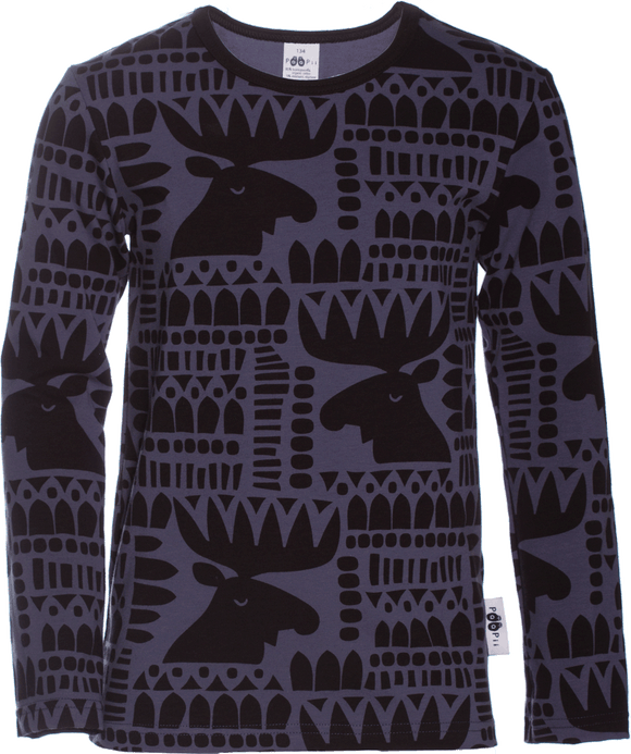 Longsleeve Nooa Moose blueberry / black 128 t/m 164 – Paapii Design