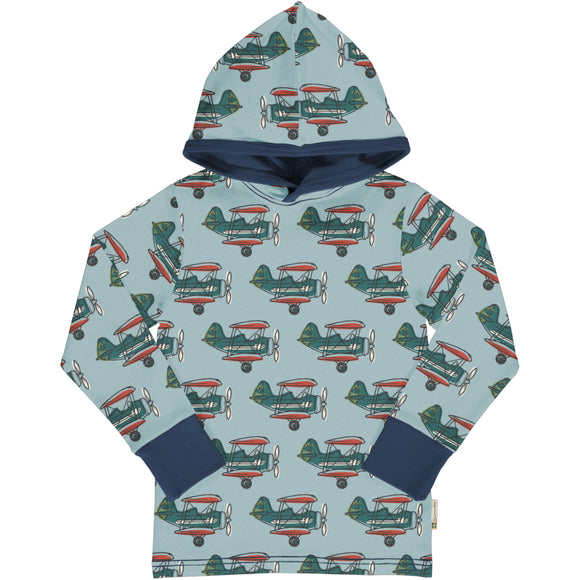 Trui / Longsleeve Top LS Hood Airplane - Maxomorra