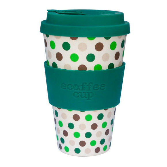 Koffie beker Dark Green Polka 400 ml - Ecoffee Cup