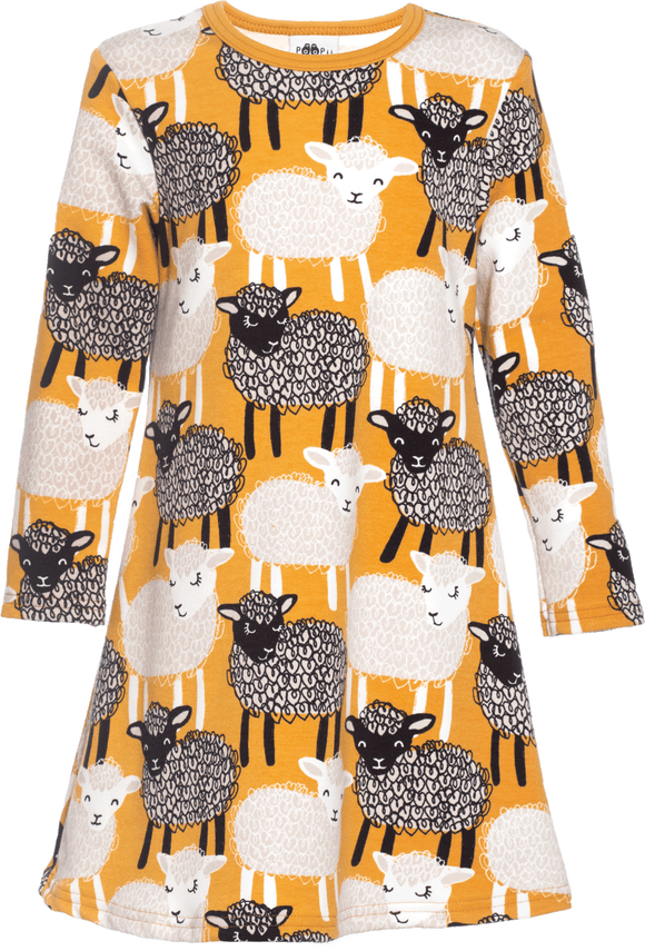 Jurk / Sweatshirt Dress SARA Baa Ochre 86 t/m 122 – Paapii Design