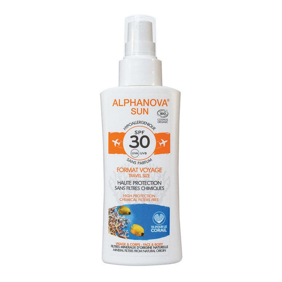 Travel Size Zonnebrandspray SPF30 bij zonne-allergie en waterproof - Alphanova Sun