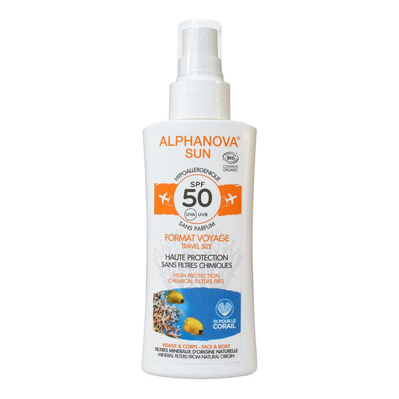 Travel Size Zonnebrandspray SPF50 bij zonne-allergie en waterproof - Alphanova Sun