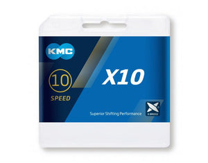 KMC X10 Silver/Black 10 Speed Chain 116 Links BOXED X10