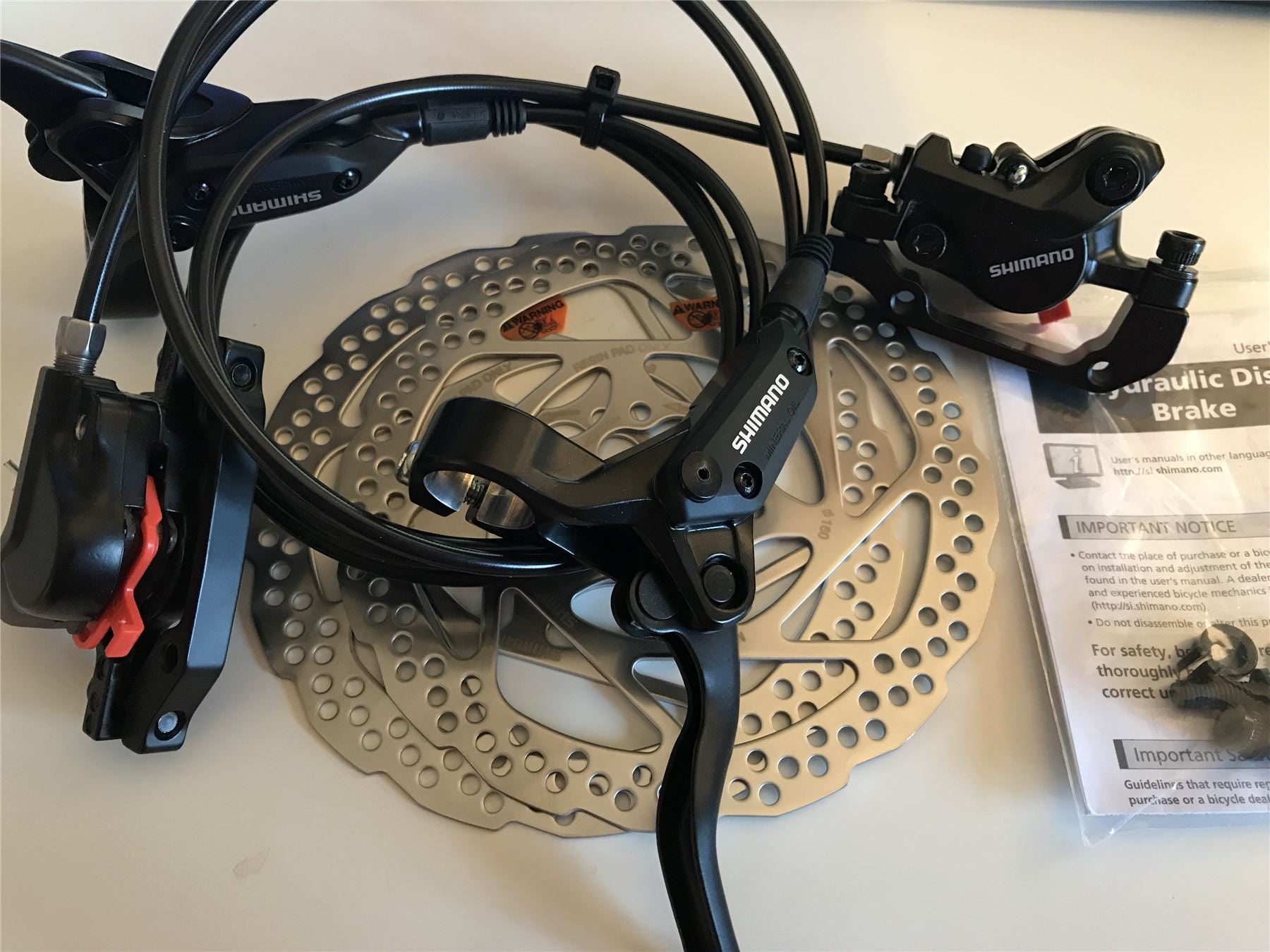 M395 Hydraulic Disc Brake Lever Front//Rear Set Cycling Rotors Bicycle Acera MTB