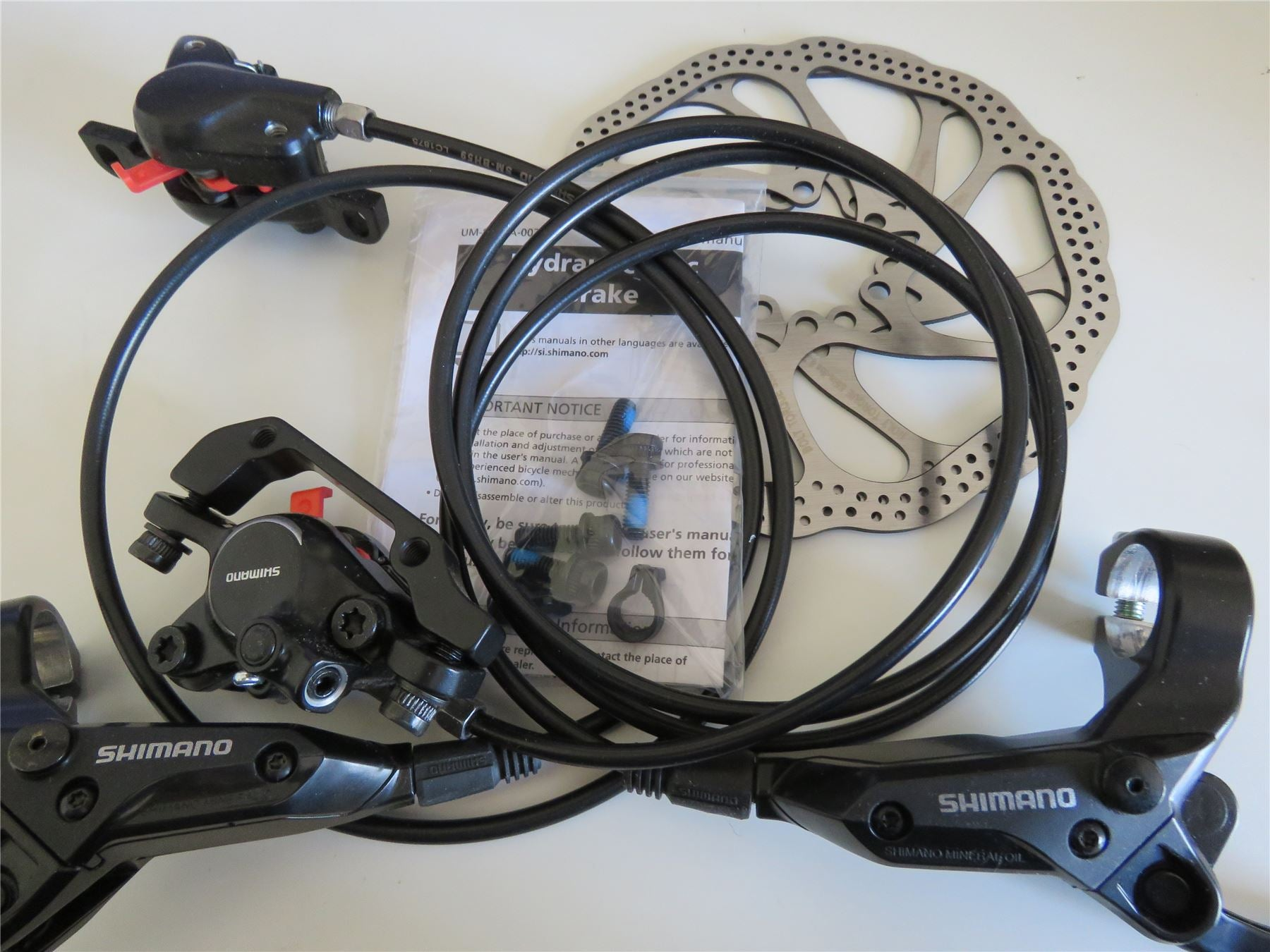 Shimano BR-M315 Acera MTB Hydraulic Disk Brake Set Pair Front/Rear Black with HS1 Rotors