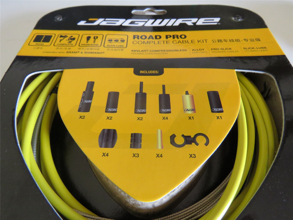 Jagwire Road Pro Complete Road Bike Brake Gear Inner and Outer Cable Set Yellow