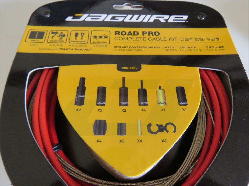 Jagwire Road Pro Complete Road Bike Brake and Gear Cable Set Red