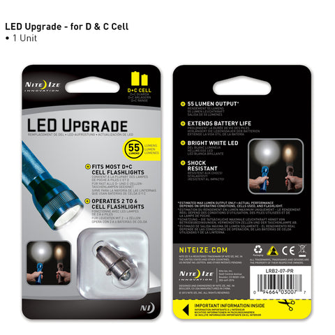 LED Upgrade - Fits C + D Cell Flashlights