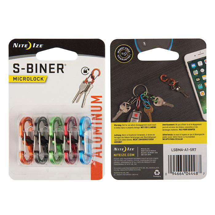 S-Biner® MicroLock® Aluminum - 5 Pack - Assorted
