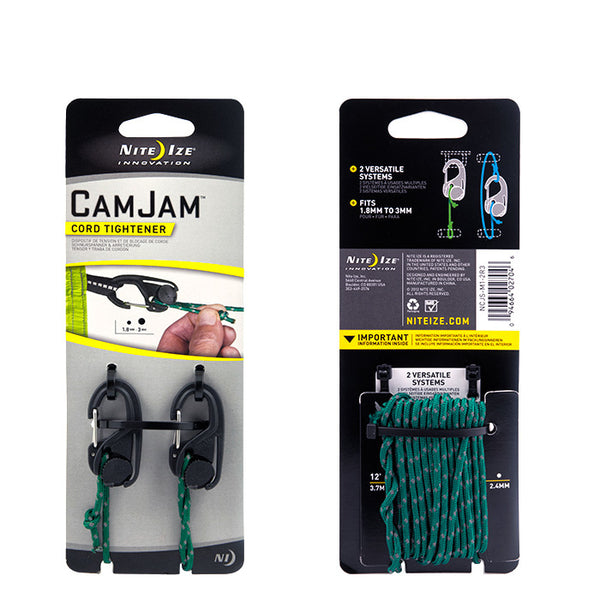 Packing image for CamJam® Small Cord Tightener - 2 Pack with 12 FT of Reflective Cord