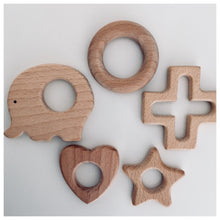 Load image into Gallery viewer, Teething Ring with Beech Wood Teether