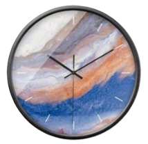 Horloge Murale Design Bleu Orange Tempêche
