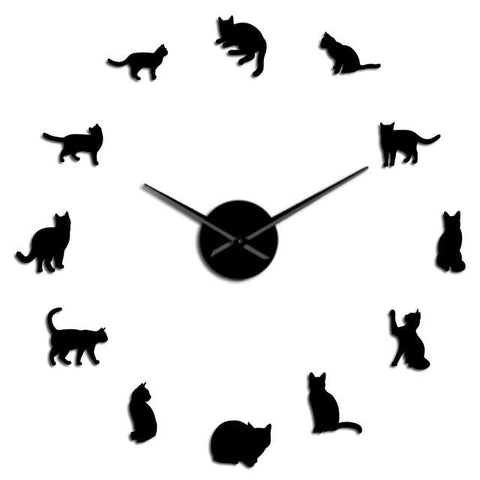Horloge murale stickers Silhouette Chat
