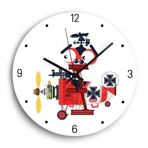 Horloge Murale Enfant Décorative Avion Rouge