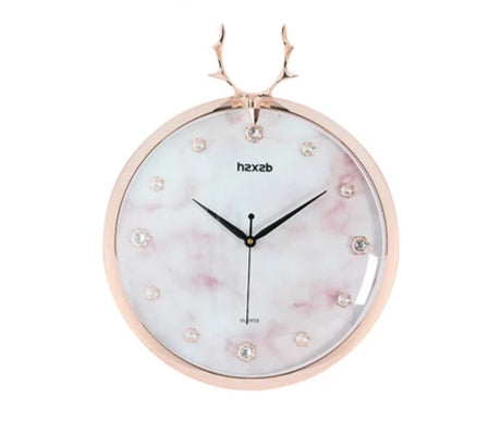 Horloge Murale Design Cerf Or Rose