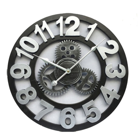 Horloge Steampunk Argentée Engrenages