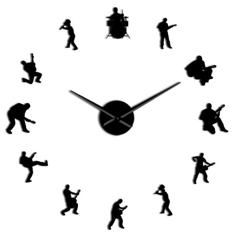 Horloge murale stickers Rock & Roll