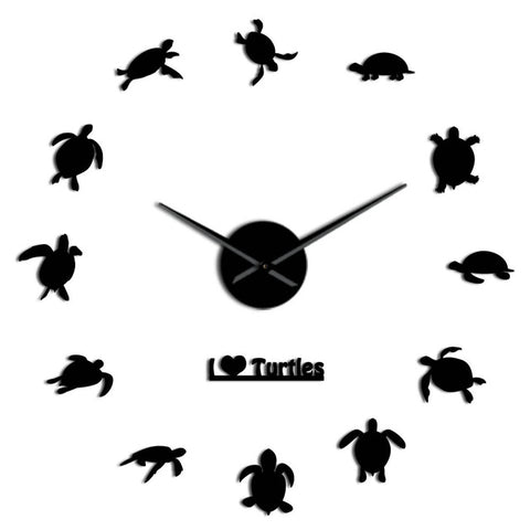 Horloge Stickers Muraux <br> Tortues