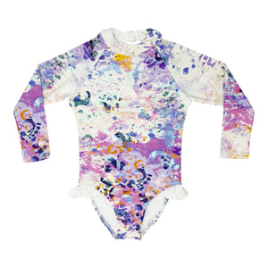 Brooke girls one piece in Aquarelle