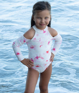 Delta girls one piece in Pink Floral
