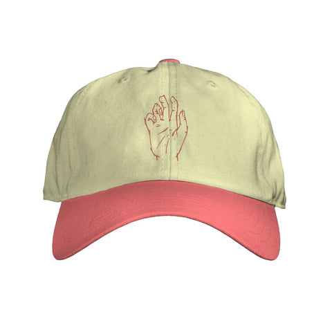 Red/khaki dad hat