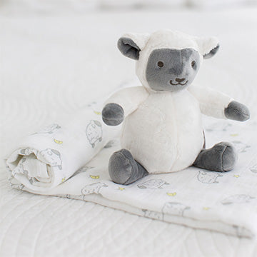 SwaddleDesigns Little Lamb Baby Gift Set Blanket Plush Toy