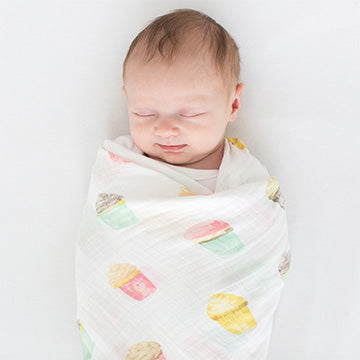 SwaddleDesigns Watercolor Cupcakes Marquisette Swaddle Blanket