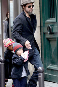 Brad Pitt & Shiloh Jolie Pitt with Baby Lovie