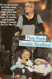 Tori Spelling with Stroller Blanket