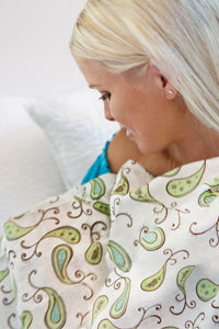 Jaclyn using the Triplets Paisleys Ultimate Swaddle Blanket