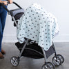 Ultimate Swaddle Blanket - Soft Black Bubble Dots, Soft Blue
