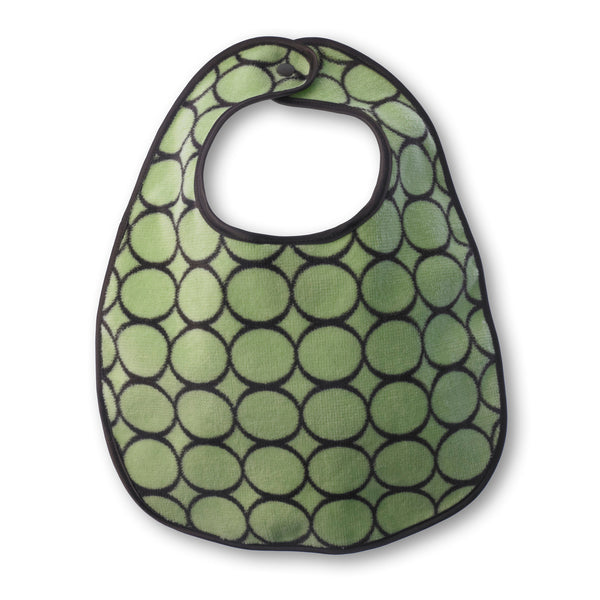 Baby Bib - Brown Mod Circles, Lime - Personalize It