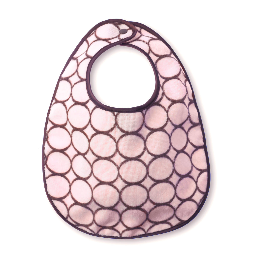 Baby Bib - Brown Mod Circles, Pastel Pink - Personalize It