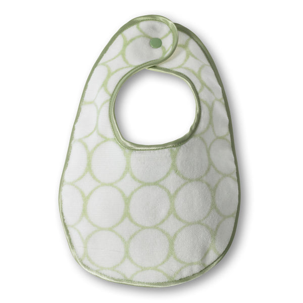 Organic Bitty Bib - Mod Circles on Ivory, Kiwi
