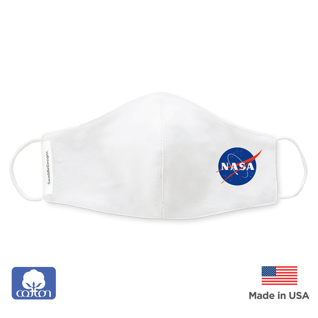Kids Face Mask, 2-Layer Cotton Flannel, White - NASA, Child Size, Made in USA
