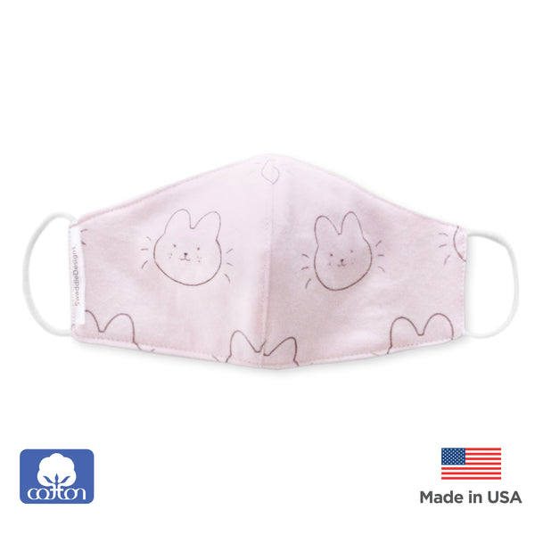 2-Layer Cotton Kids Face Mask, Bunnie, Pink - Child Size, Made in USA