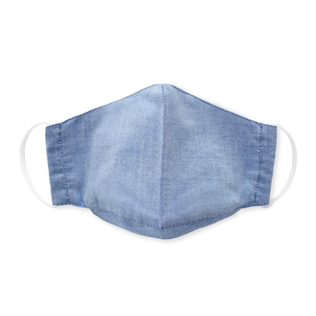3-Layer Cotton Chambray Kids Face Mask, Light Denim 100 Pack