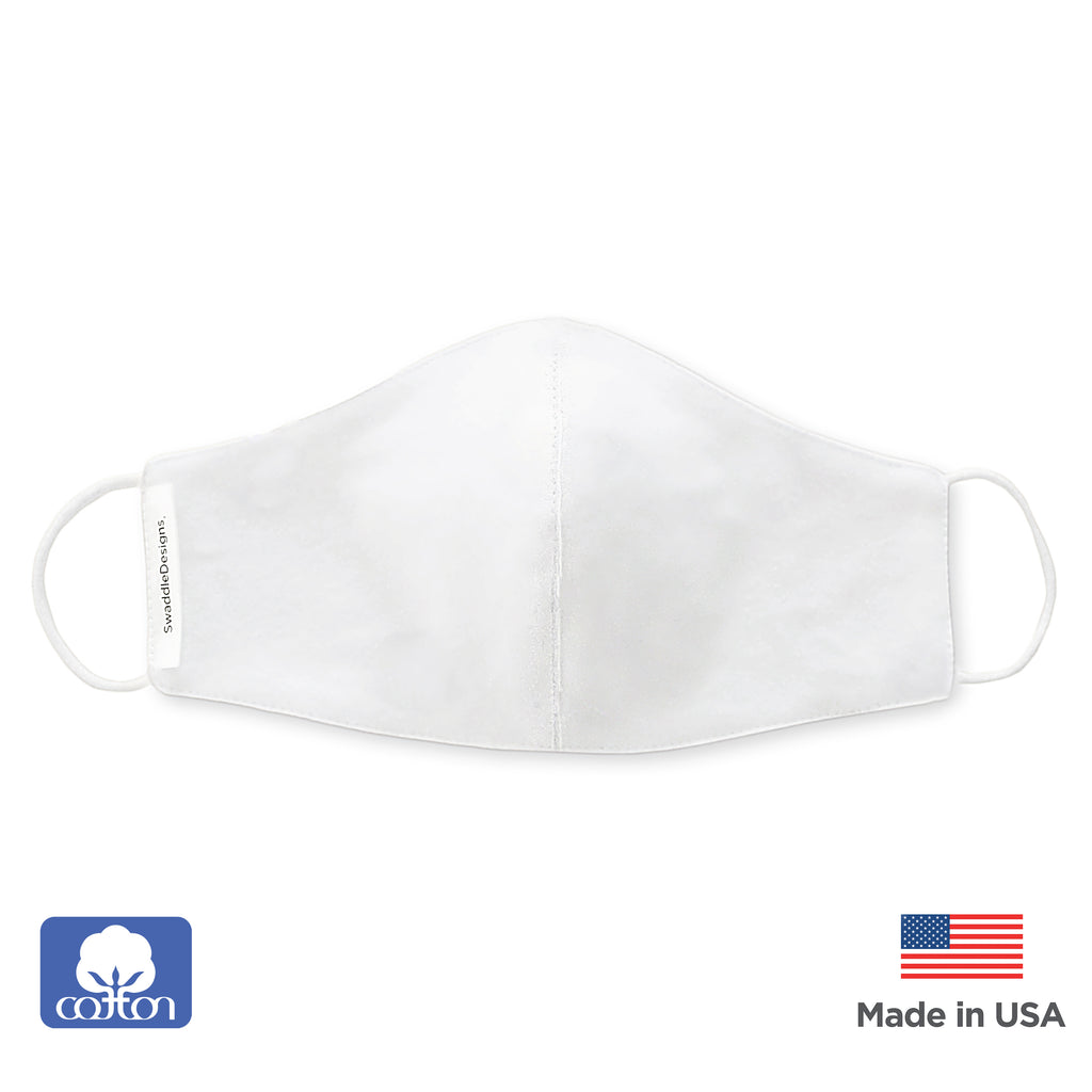 2-Layer Cotton Kids Face Mask, White - Child Size, Made in USA