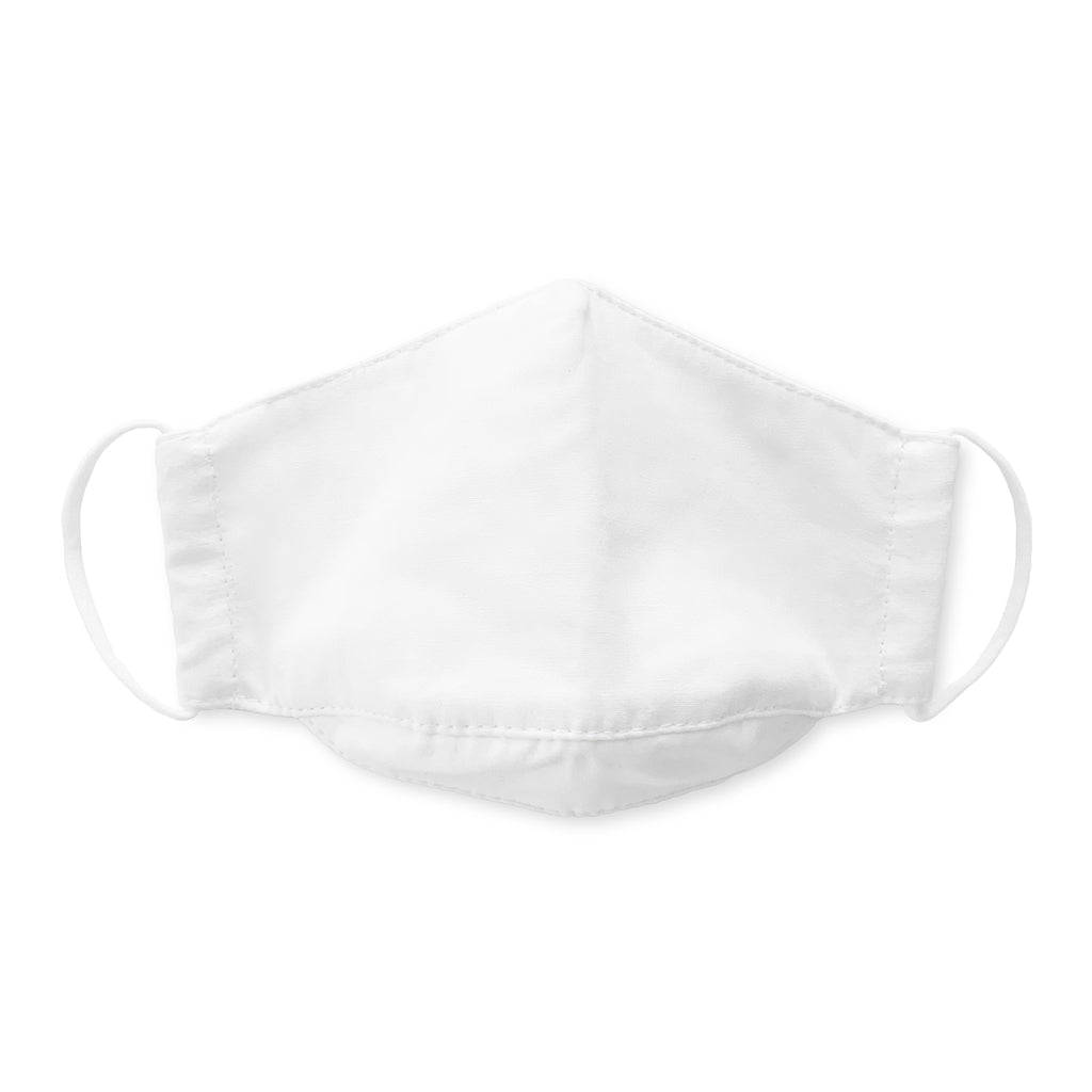 Kids Face Mask, 3-Layer Cotton Chambray, White 100 Pack
