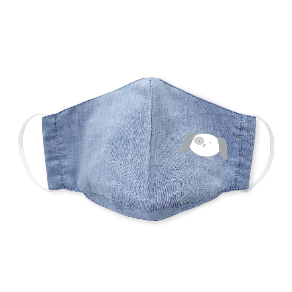 Kids Face Mask, 3-Layer Woven Cotton Chambray, Light Denim, Puppy