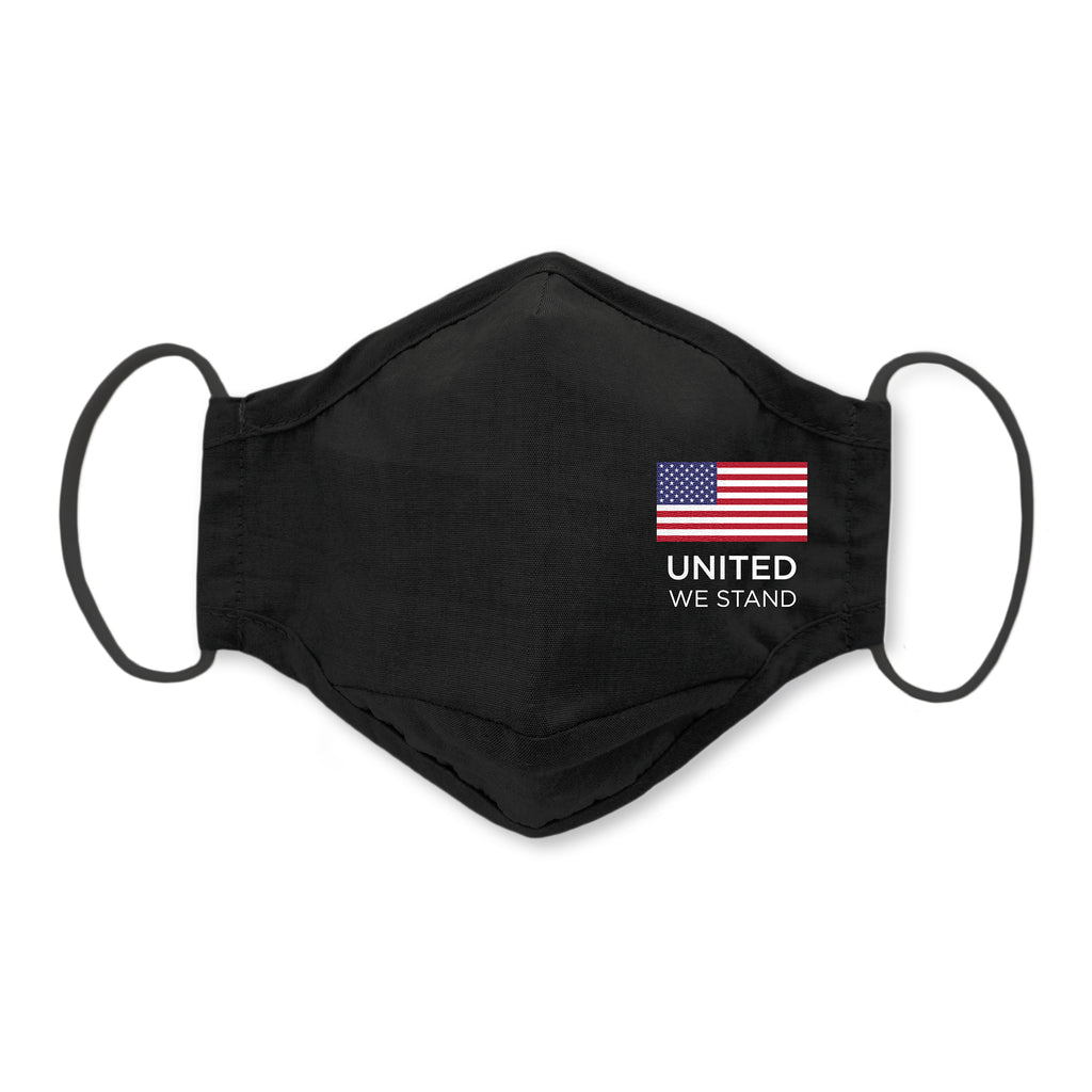 3-Layer Woven Cotton Chambray Face Mask, Black - United We Stand