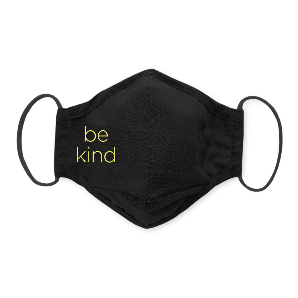 3-Layer Cotton Chambray Face Mask, Black - Be Kind