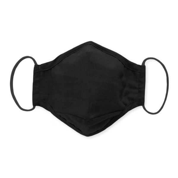 3-Layer Cotton Chambray Face Mask, Black