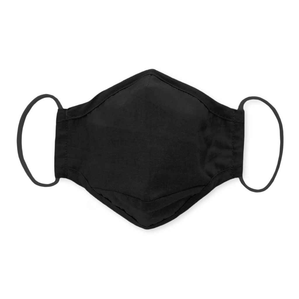 3-Layer Cotton Chambray Facemask, Cloth Non-medical Mask - Black, 6 Prepack